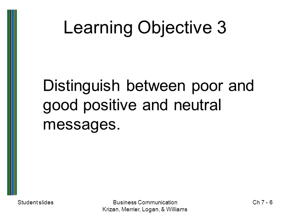 Learning Objective 3 Distinguish between poor and good positive and neutral messages. Student slides.