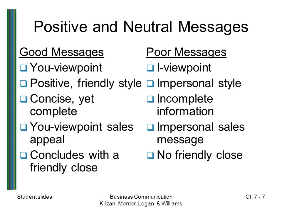 Positive and Neutral Messages
