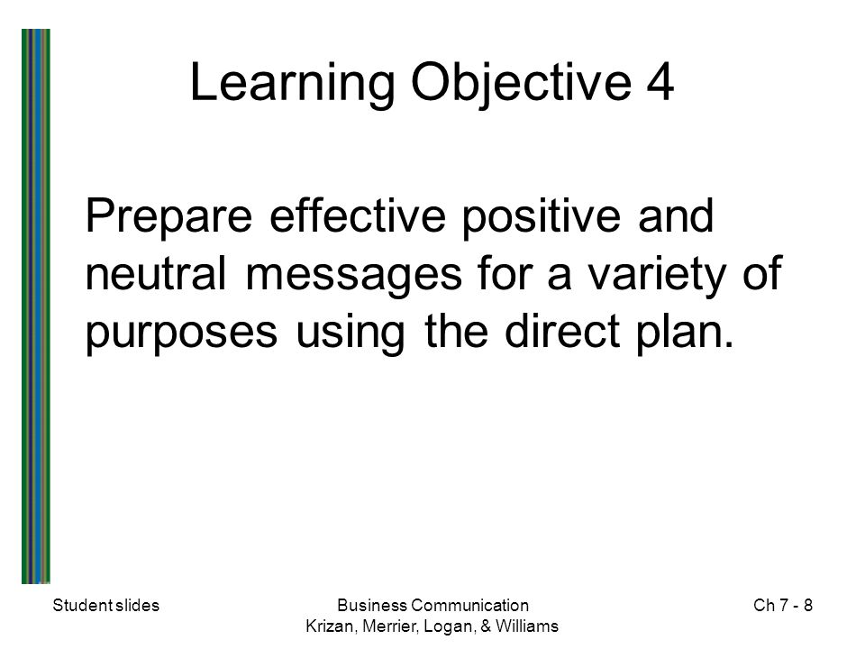 Learning Objective 4 Prepare effective positive and neutral messages for a variety of purposes using the direct plan.