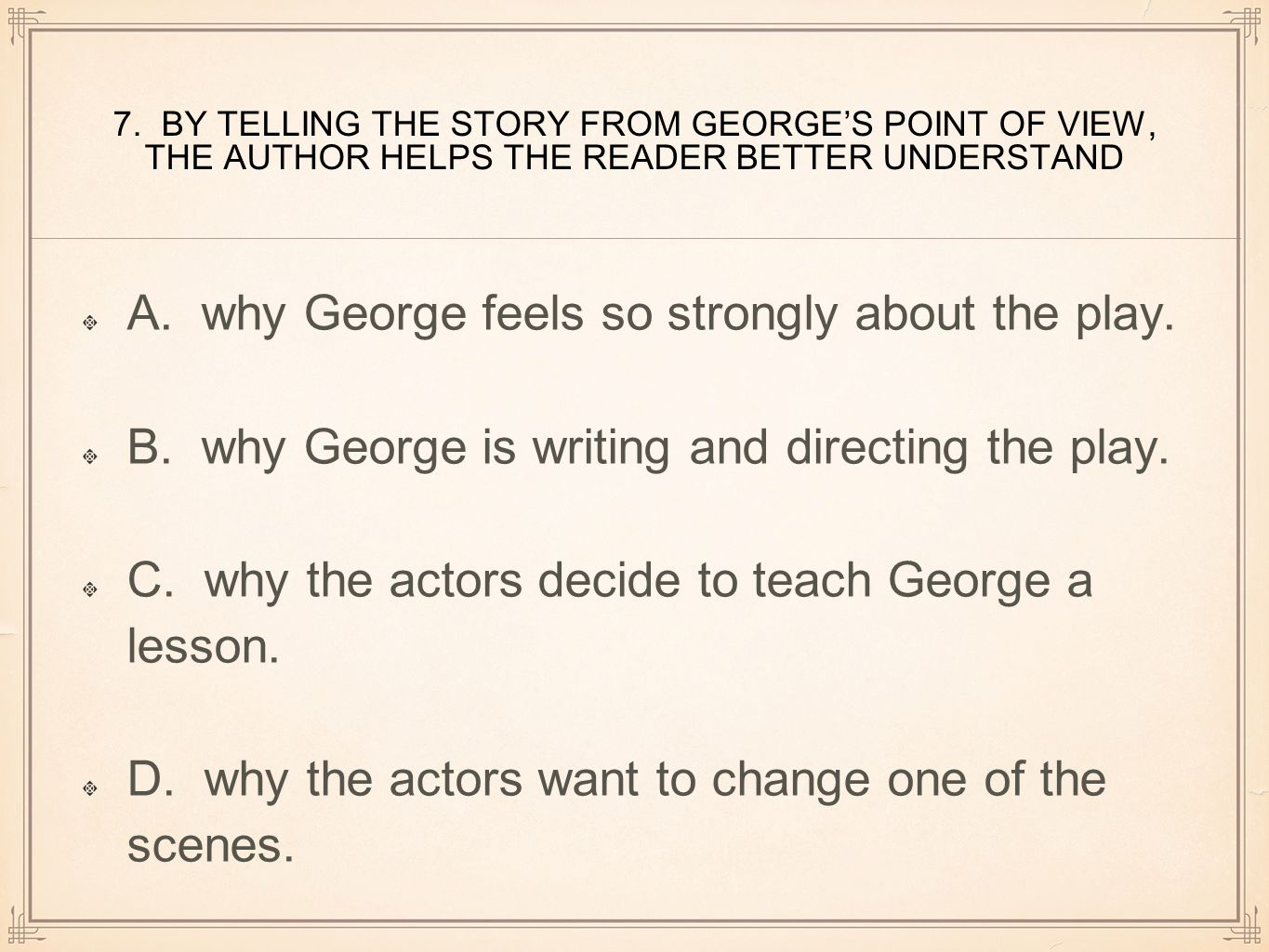 A. why George feels so strongly about the play.
