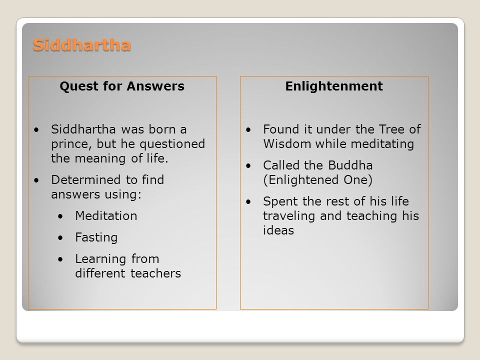 Siddhartha Quest for Answers