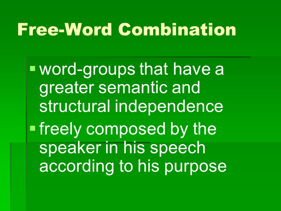 Free-Word Combination