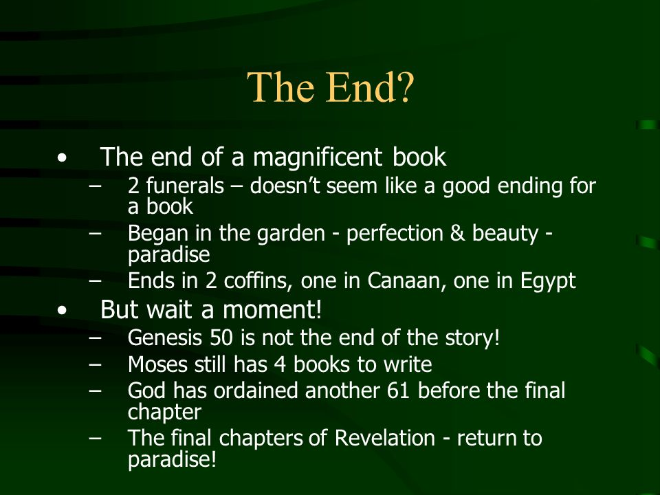 The End The end of a magnificent book But wait a moment!