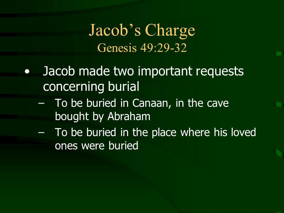 Jacob's Charge Genesis 49:29-32