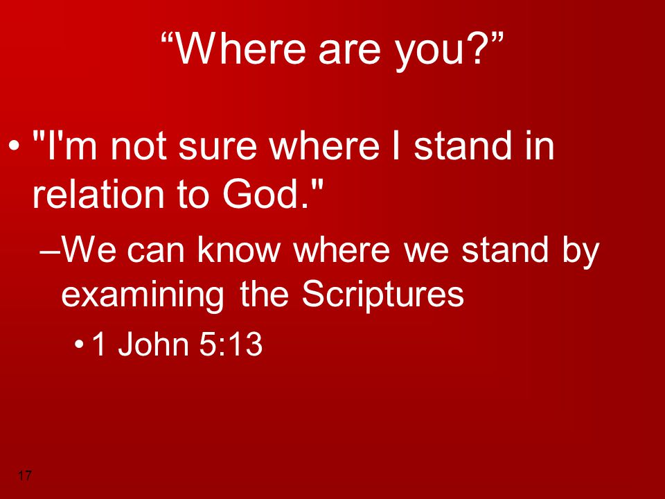 Where are you I m not sure where I stand in relation to God.
