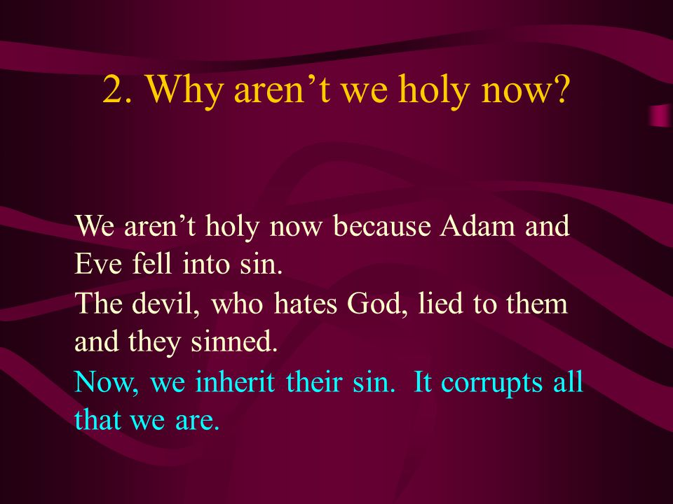 2. Why aren't we holy now We aren't holy now because Adam and Eve fell into sin. The devil, who hates God, lied to them and they sinned.