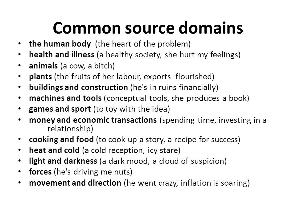 Common source domains the human body (the heart of the problem)