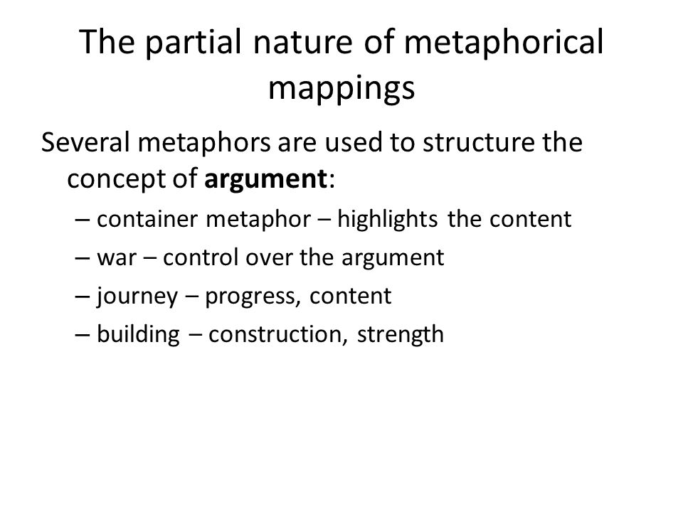 The partial nature of metaphorical mappings