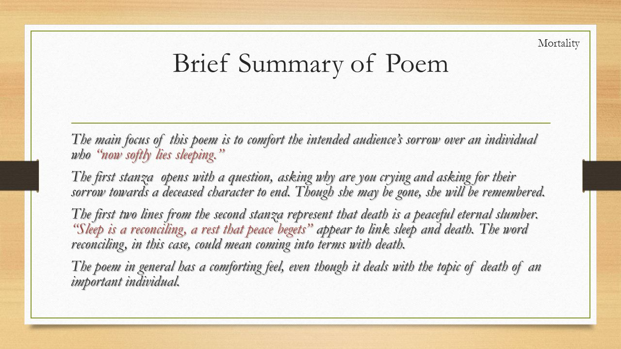 Mortality Brief Summary of Poem.