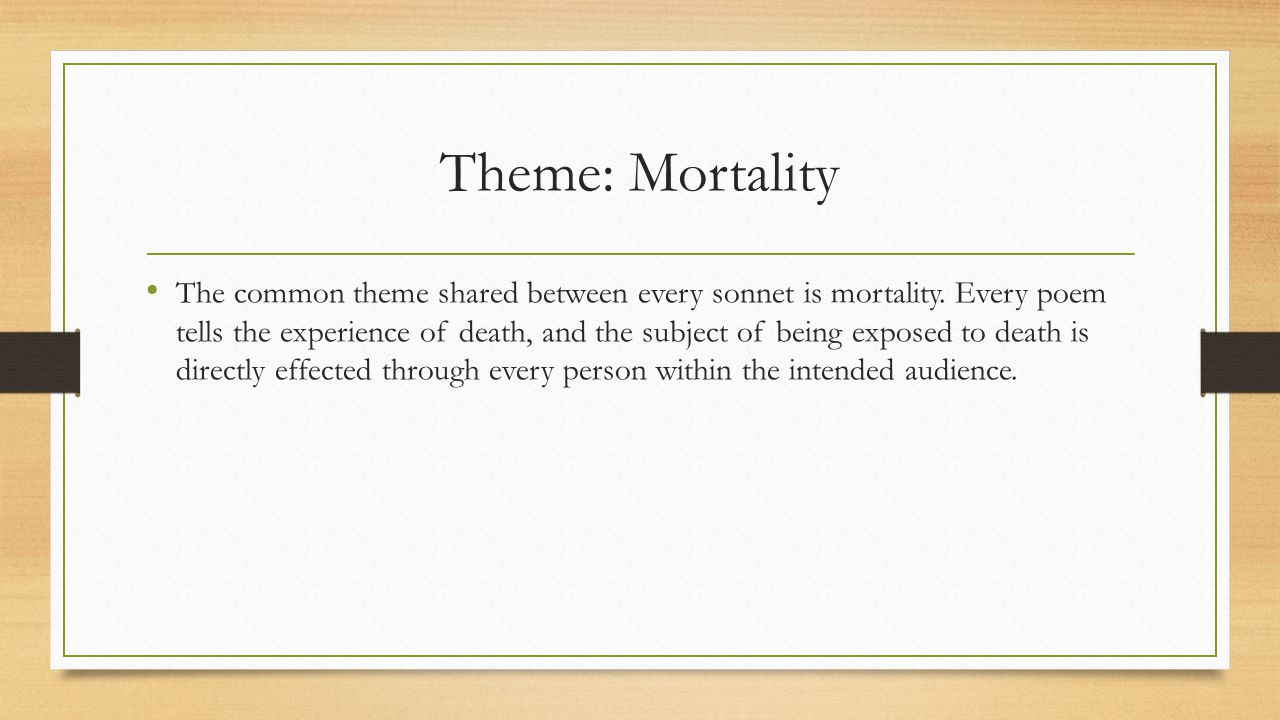 Theme: Mortality