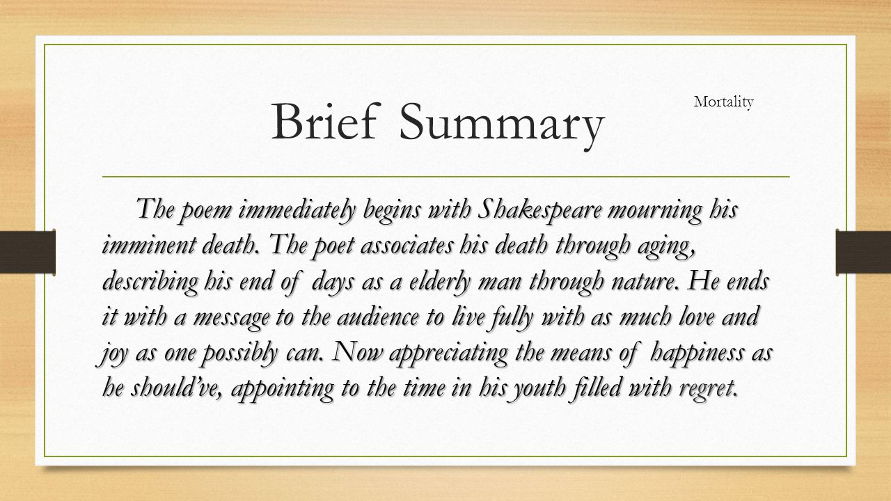 Brief Summary Mortality.