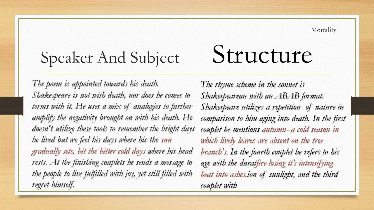 Structure Speaker And Subject