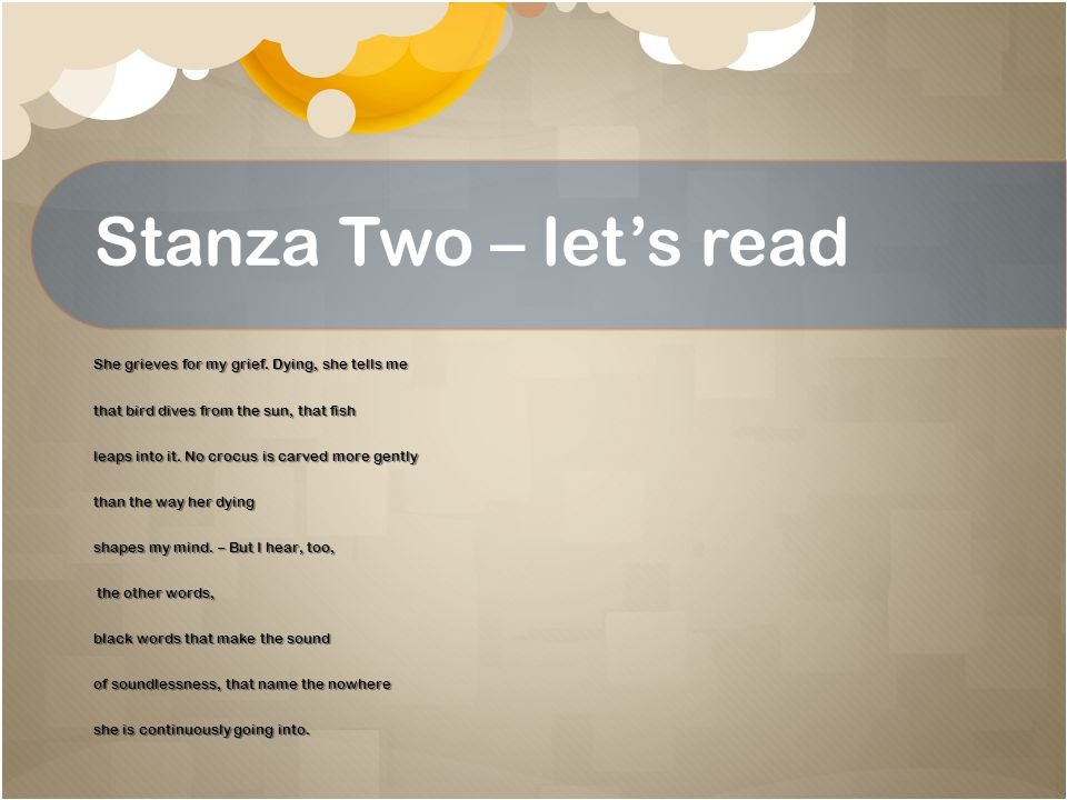 Stanza Two – let's read