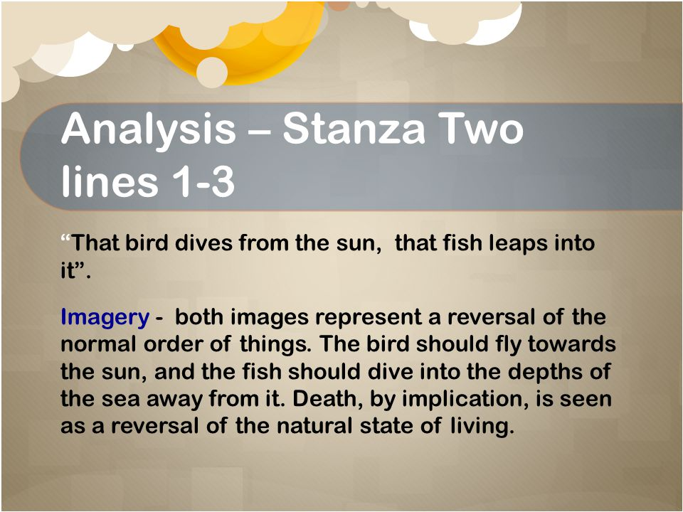 Analysis – Stanza Two lines 1-3