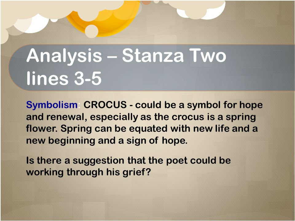 Analysis – Stanza Two lines 3-5