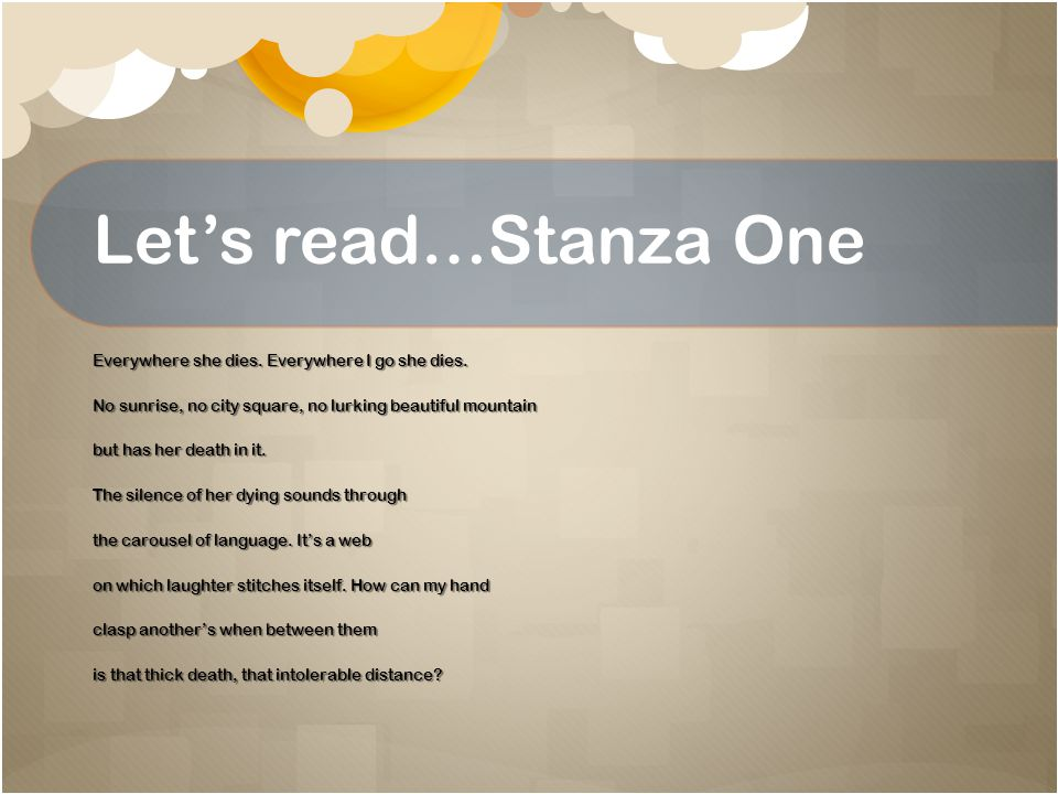 Let's read…Stanza One