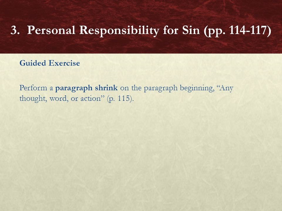 3. Personal Responsibility for Sin (pp. 114-117)