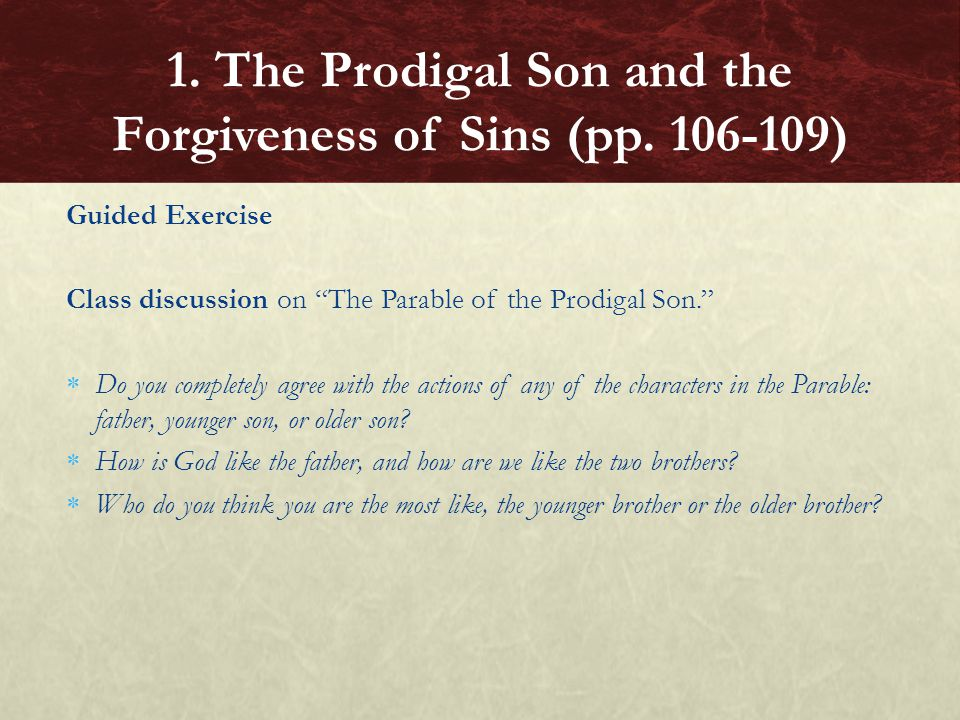 1. The Prodigal Son and the Forgiveness of Sins (pp. 106-109)