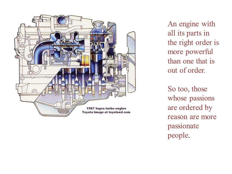An engine with all its parts in the right order is more powerful than one that is out of order.