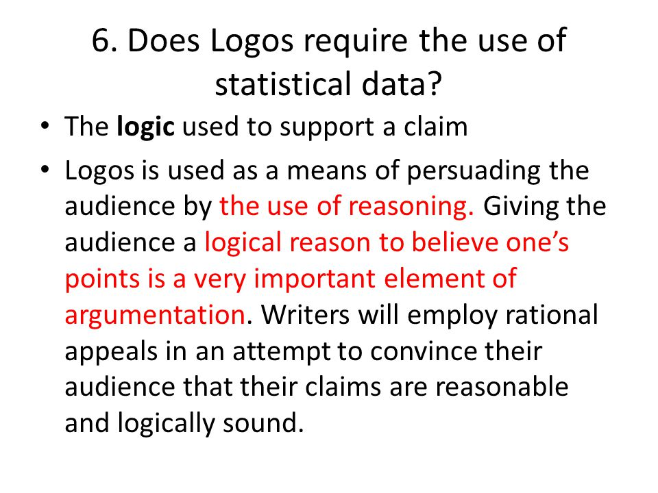 6. Does Logos require the use of statistical data