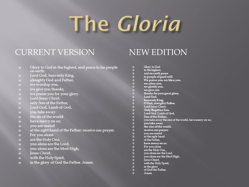 The Gloria Current version New edition