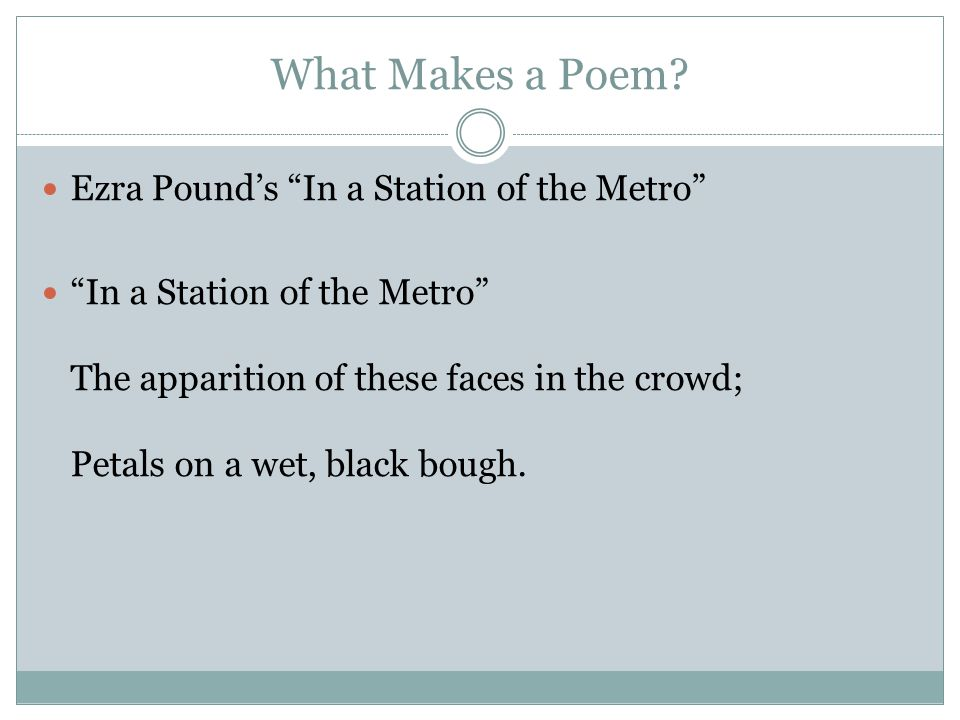 an analysis of ezra pounds in a station of the metro Complete summary of ezra pound's in a station of the metro enotes plot summaries cover all the significant action of in a station of the metro pound uses a brief vivid image to express a.