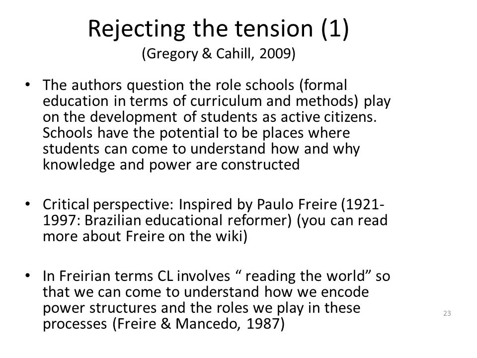 Rejecting the tension (1) (Gregory & Cahill, 2009)