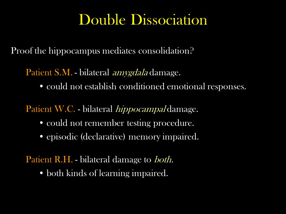 Double Dissociation Proof the hippocampus mediates consolidation