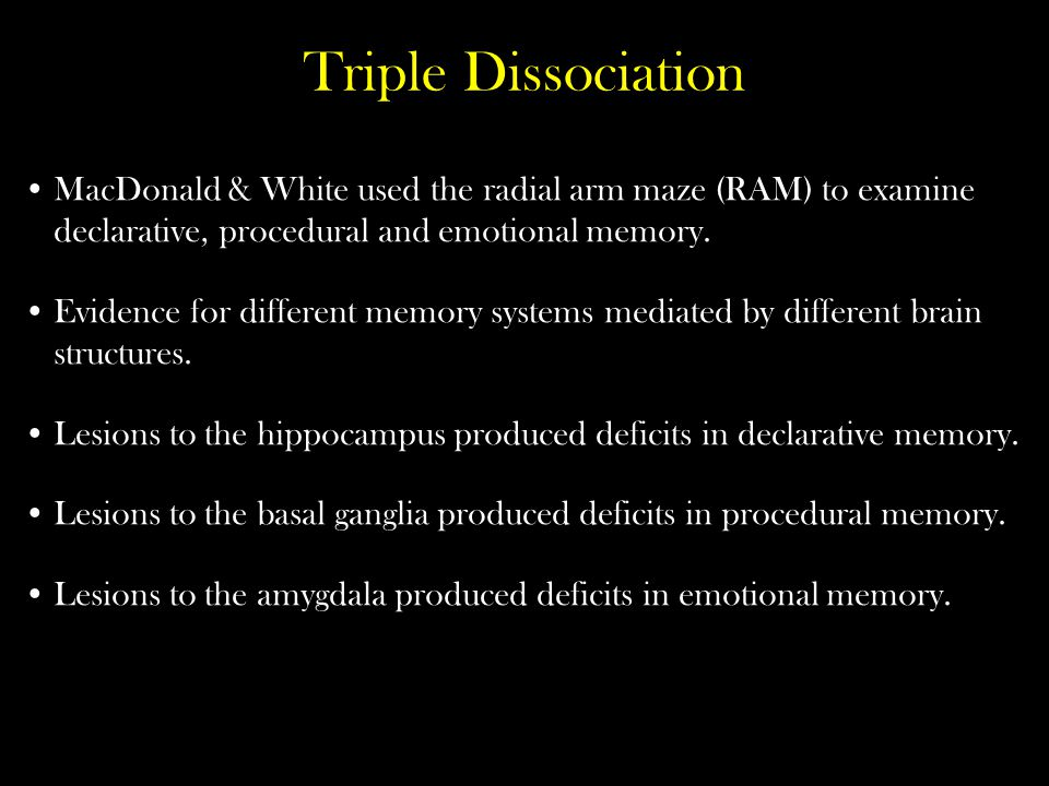 Triple Dissociation MacDonald & White used the radial arm maze (RAM) to examine declarative, procedural and emotional memory.
