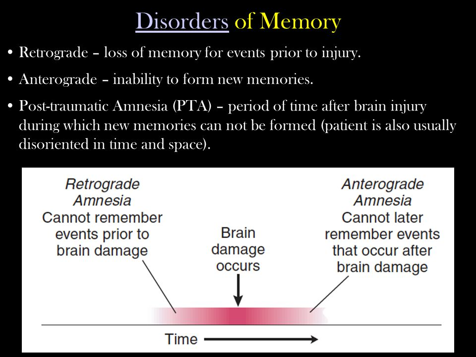 Disorders of Memory Retrograde – loss of memory for events prior to injury. Anterograde – inability to form new memories.