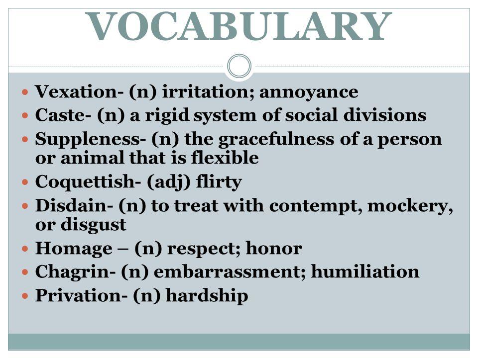 VOCABULARY Vexation- (n) irritation; annoyance