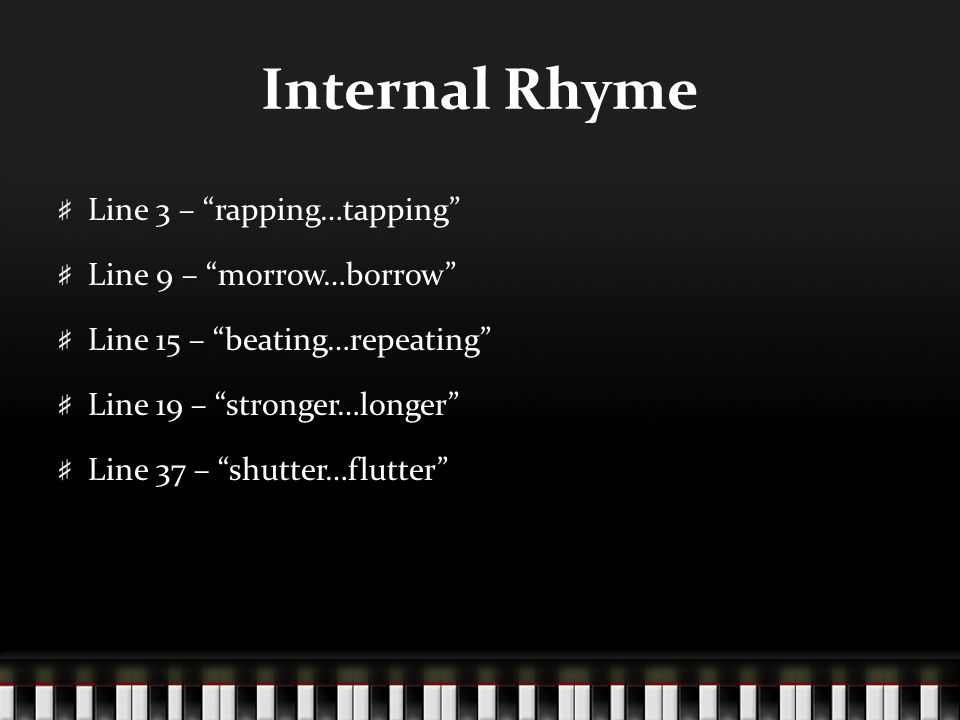 Internal Rhyme Line 3 – rapping…tapping Line 9 – morrow…borrow