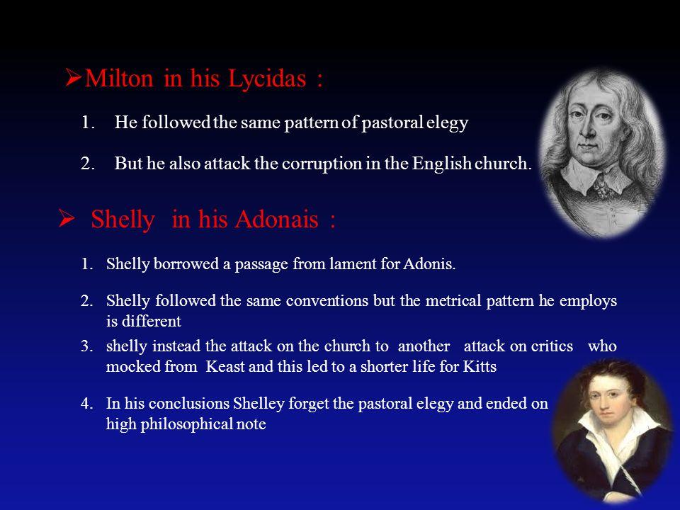 Milton in his Lycidas : Shelly in his Adonais :