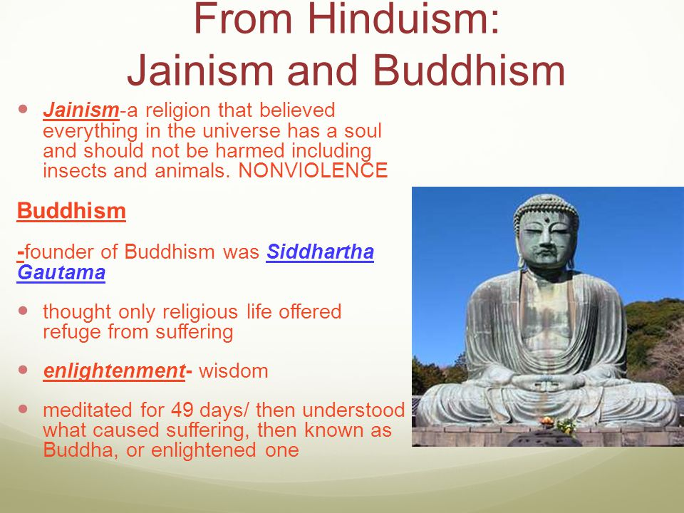 From Hinduism: Jainism and Buddhism