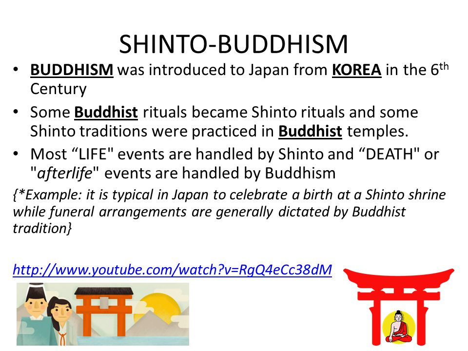 SHINTO-BUDDHISM BUDDHISM was introduced to Japan from KOREA in the 6th Century.