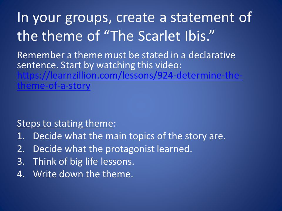 In your groups, create a statement of the theme of The Scarlet Ibis.