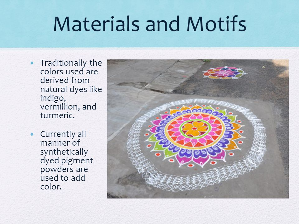 Materials and Motifs Traditionally the colors used are derived from natural dyes like indigo, vermillion, and turmeric.