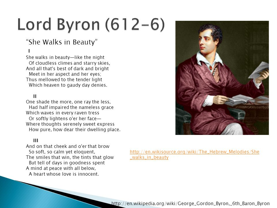 Lord Byron (612-6) She Walks in Beauty
