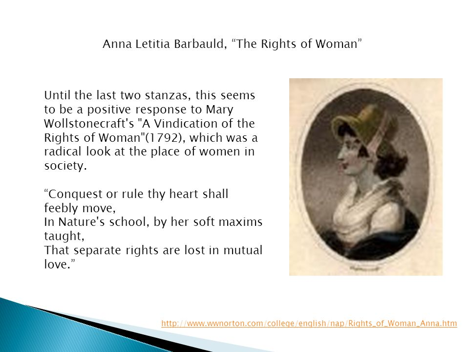 Anna Letitia Barbauld, The Rights of Woman