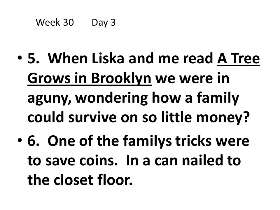 Week 30 Day 3 5. When Liska and me read A Tree Grows in Brooklyn we were in aguny, wondering how a family could survive on so little money