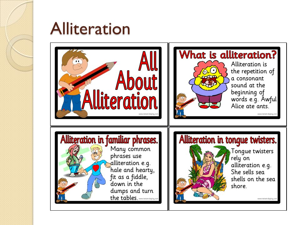 Alliteration Repetition of the same or very similar consonant sounds in words that are close together in poems.