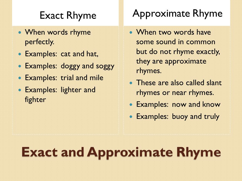 Exact and Approximate Rhyme