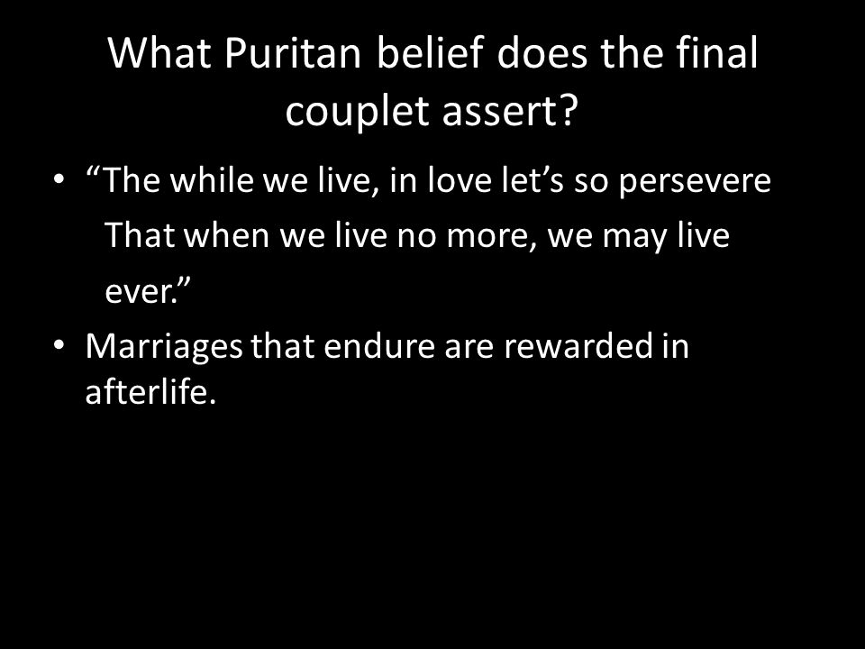 What Puritan belief does the final couplet assert