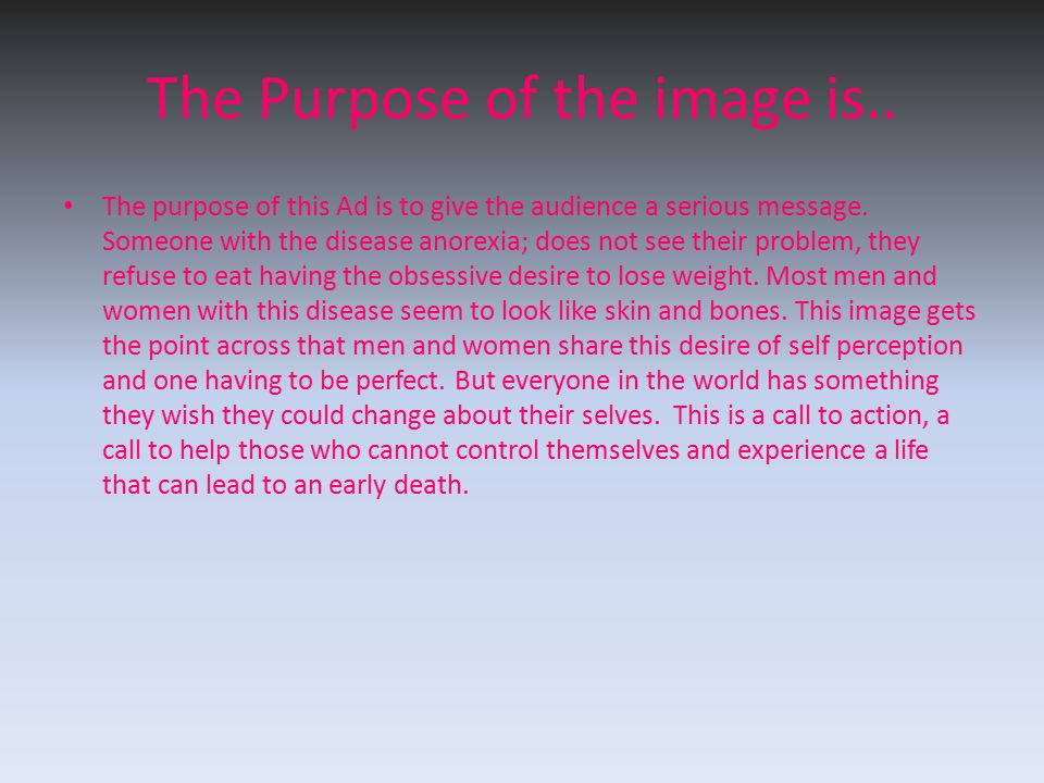 The Purpose of the image is..