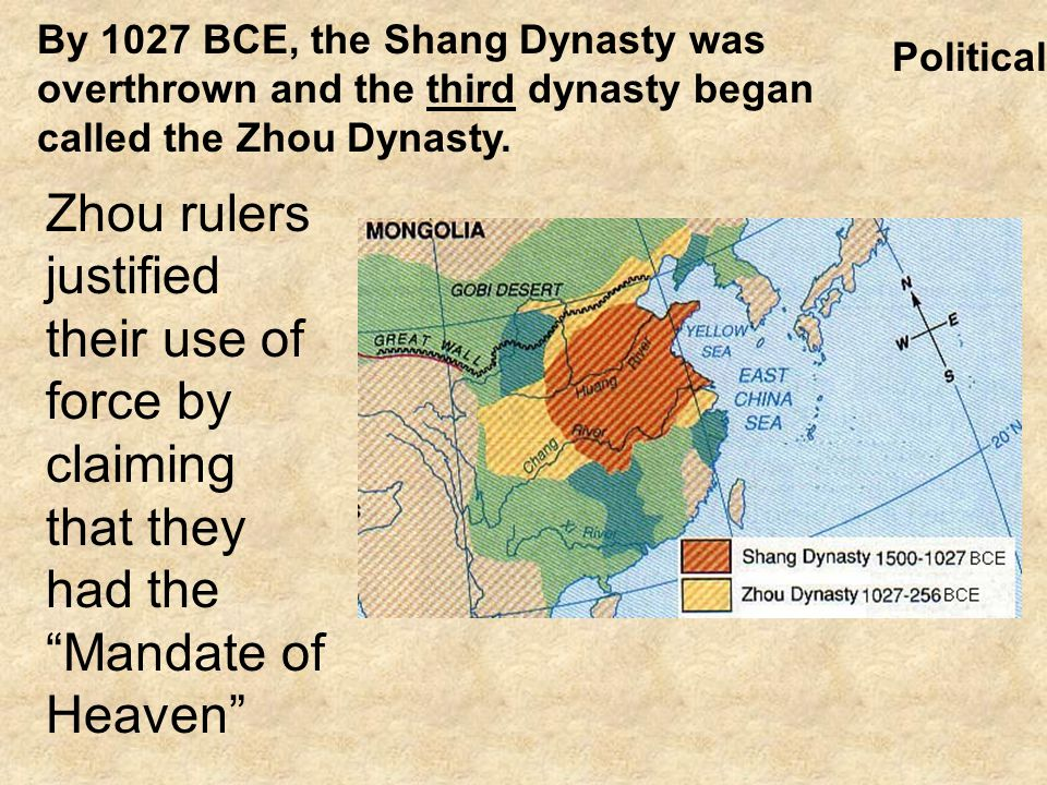 By 1027 BCE, the Shang Dynasty was overthrown and the third dynasty began called the Zhou Dynasty.