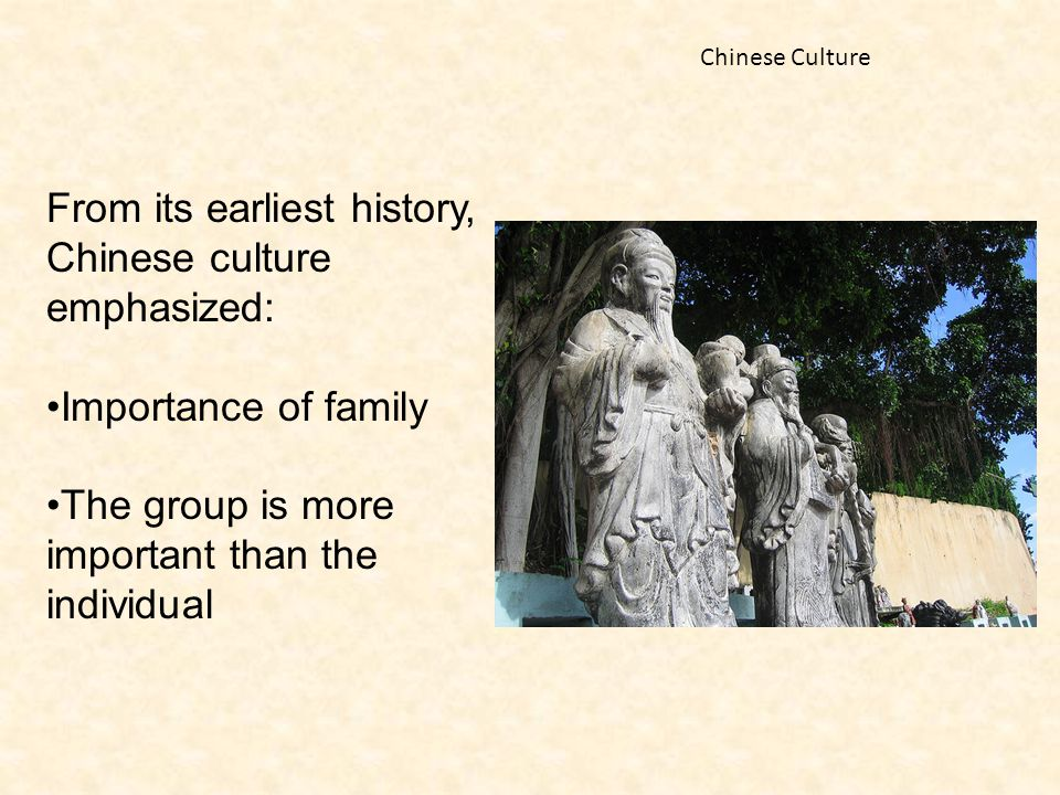 From its earliest history, Chinese culture emphasized: