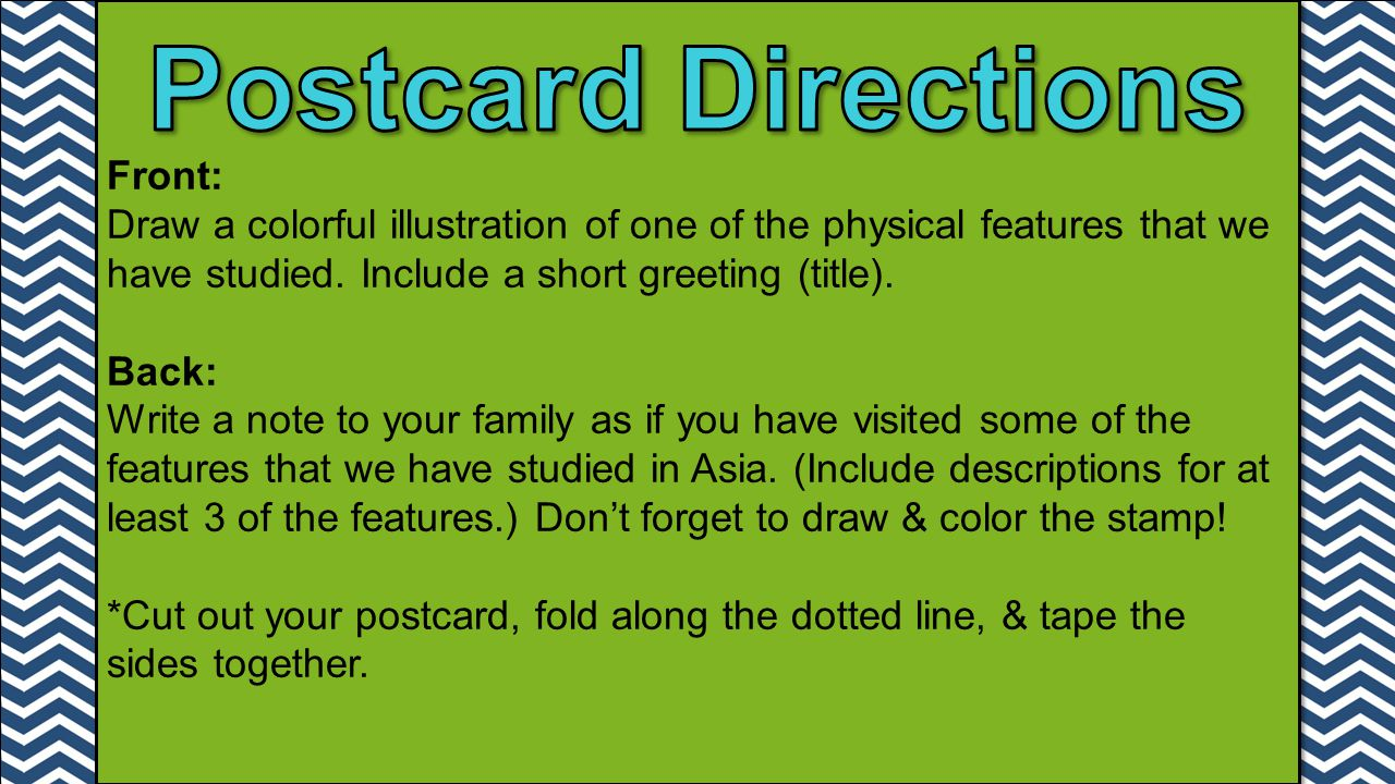 Postcard Directions Front: