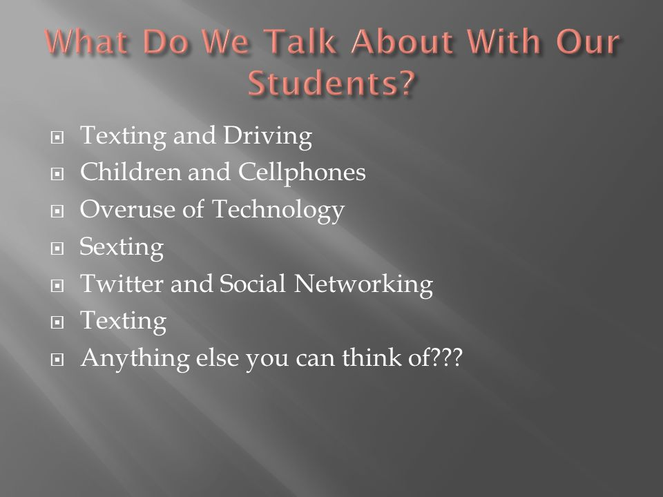 What Do We Talk About With Our Students