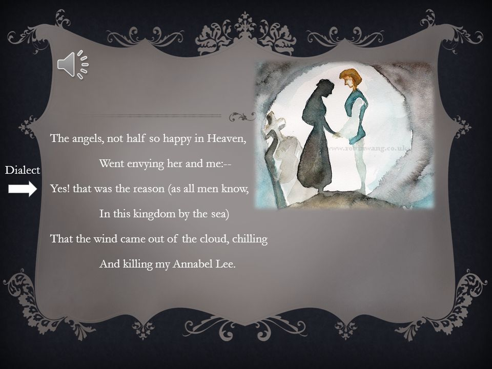 The angels, not half so happy in Heaven, Went envying her and me:-- Yes! that was the reason (as all men know, In this kingdom by the sea) That the wind came out of the cloud, chilling And killing my Annabel Lee.