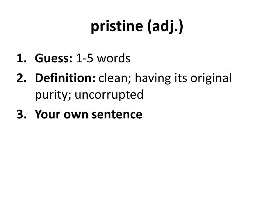 pristine (adj.) Guess: 1-5 words